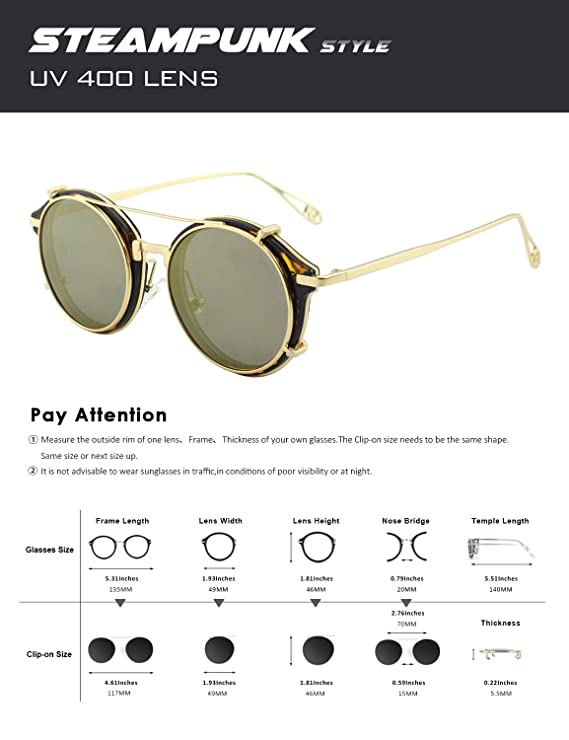 c964364f55 Amazon.com  CGID Clip on Sunglasses Polarized Steampunk Metal Retro Circle  Double Lens UV400 Vintage Round Mirror Lens Men and women  Clothing