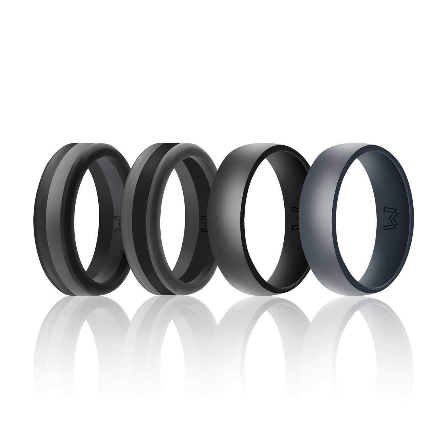 Wigerlon Mens Silicone Wedding Ring& Wedding Bands Skin Safe for Active Athletes, Workout, Military Width 8mm Pack of 4