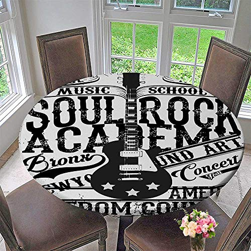 Mikihome Round Fitted Tablecloth Retro Soul Rock Academy Theme School Electric Guitar Freedom for All Occasions 40