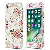 ZCDAYE iPhone 5 5S SE Case,Premium [White & Rose Pattern] Slim PC Hard Back Case with [Tempered Glass Screen Protector] Cover for iPhone 5/5S/SE - White & Rose