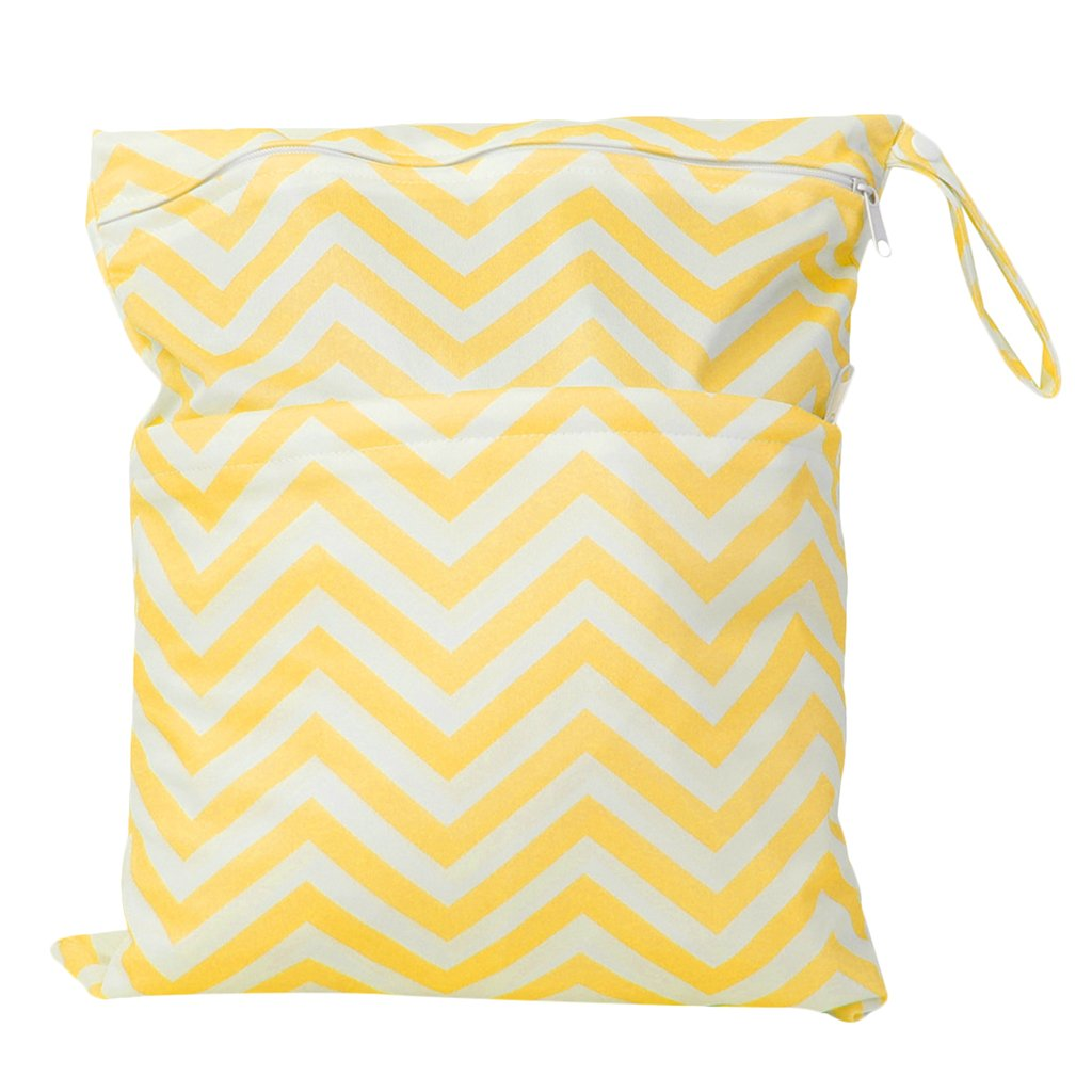 2-Zip Baby Cloth Diaper Bag Wave Pattern Yellow and White Generic