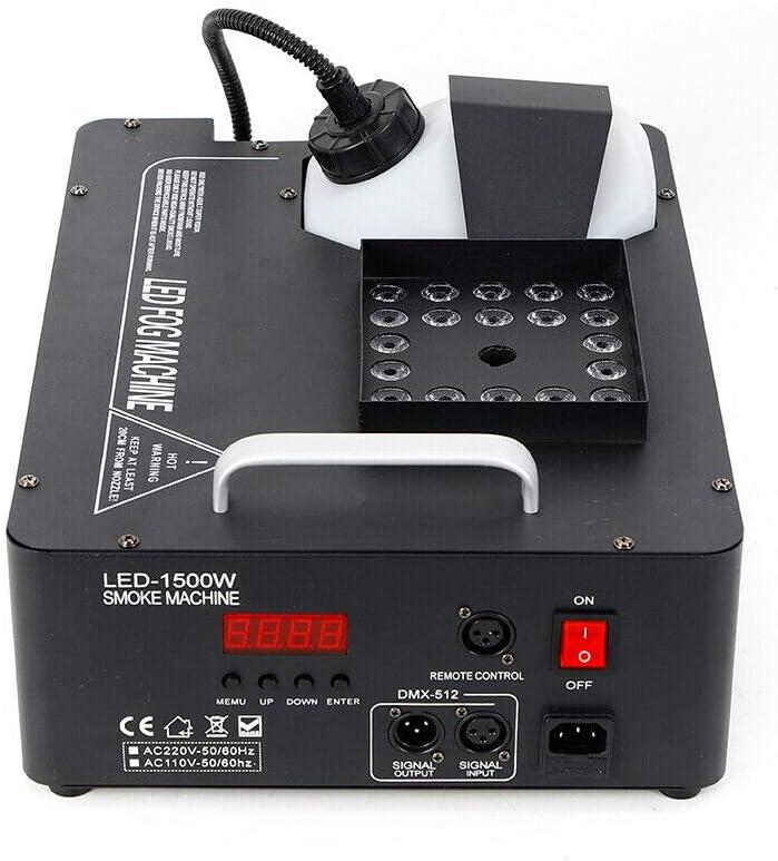 1500W Maquina de Humo Máquina de la Niebla LED RGB DMX para la Fiesta de la Barra de DJ de Disco de Boda de Etapa con Control Remoto y Control Remoto Inalámbrico