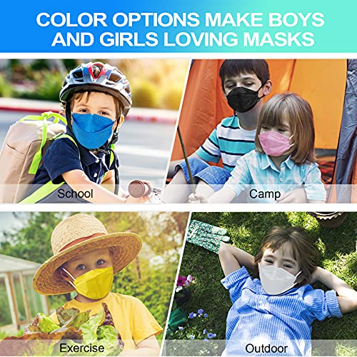 KF94 Disposable Face Mask for Kids, Colored Mask for Boys Girls with Adjustable Ear Loop, Kid Sized Small Mask for School with Moldable Nose Clip, 4-Layers Breathable Children Mask Cover with Custom Size - 20 Packs