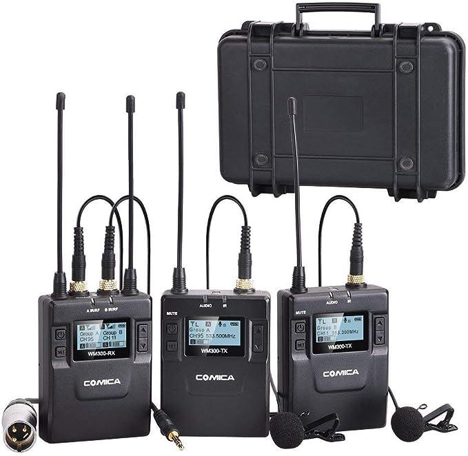 Amazon.com: Comica CVM-WM300A - Micrófono inalámbrico (aleación de zinc, 96 canales, recargable, doble micrófono, para cámaras Canon, Nikon, Sony, XLR, teléfono (2TX+1RX): Musical Instruments