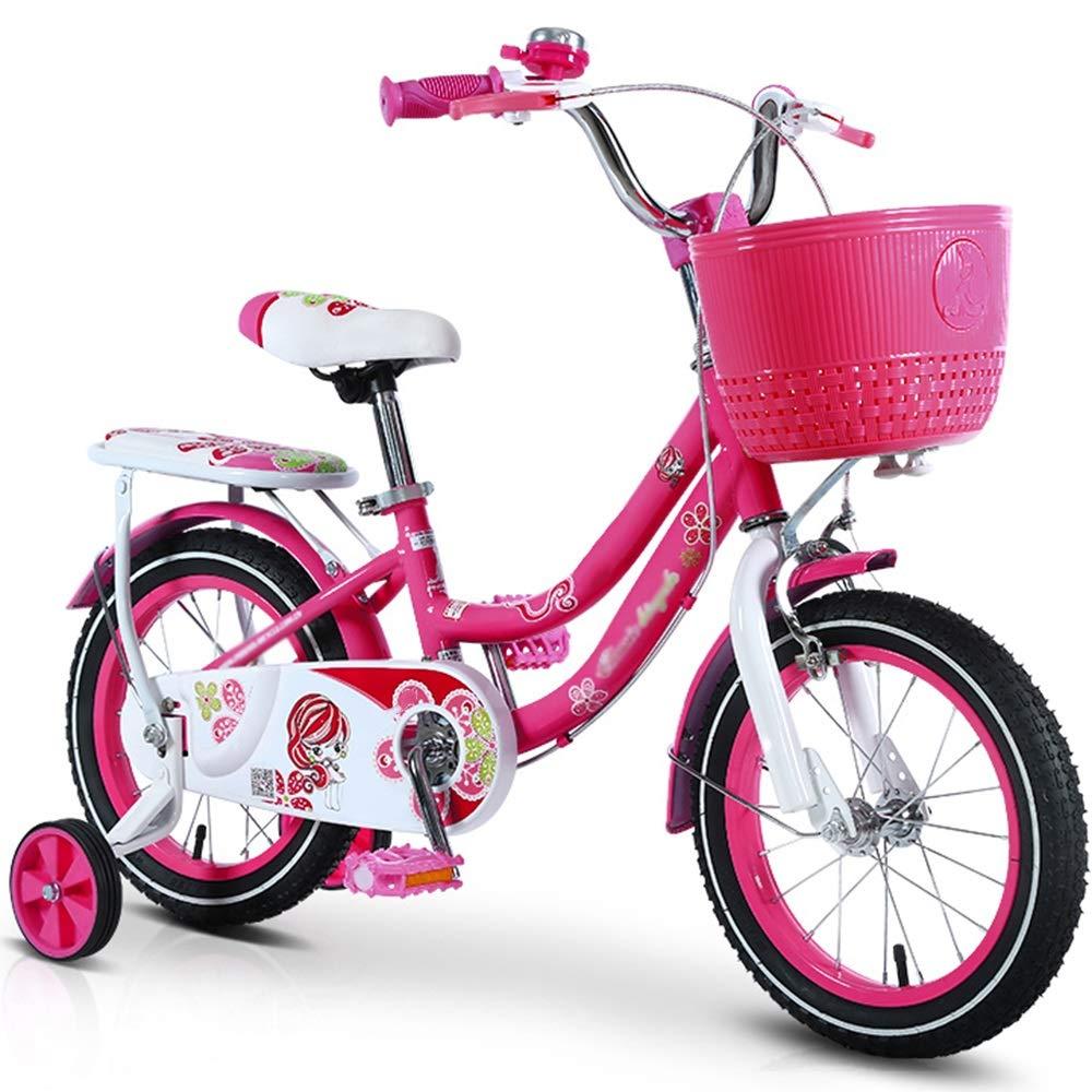 Axdwfd 子ども用自転車 子供用自転車12/14/16/18インチ、高炭素鋼子供用自転車トレーニングホイール付きギフト24歳の男の子と女の子 16in ローズレッド B07PFXQYBN