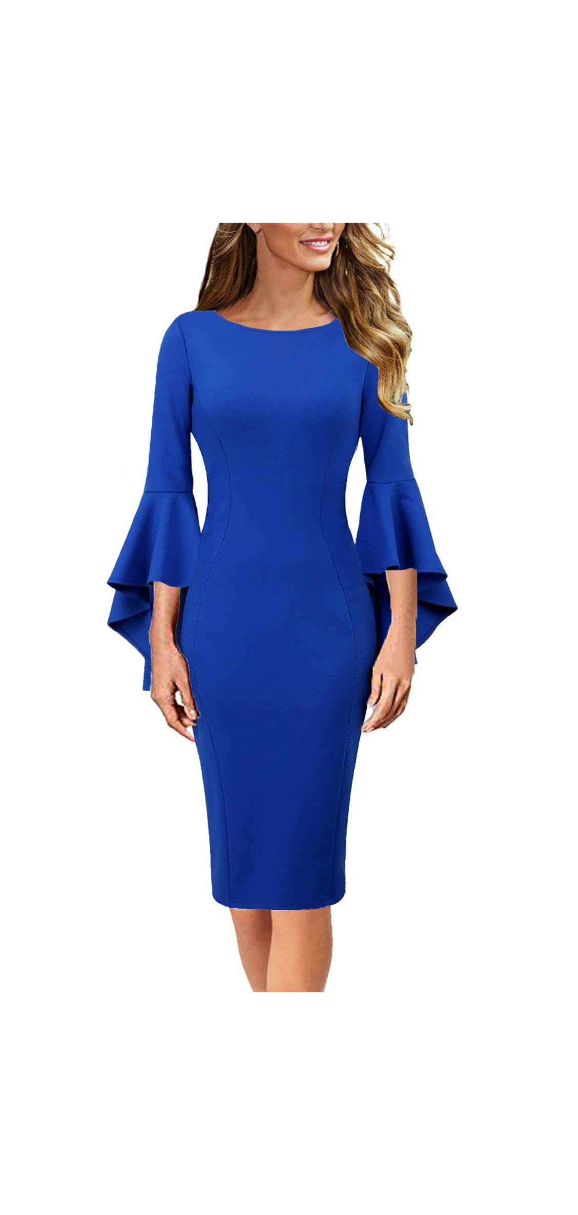 Womens Ruffle Bell Sleeves Business Cocktail Party Sheath