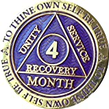 4 Month AA Medallion Reflex Purple Gold Plated Chip