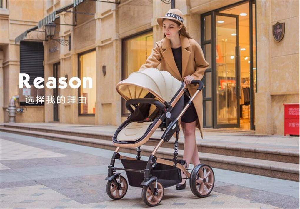 Gxinyanlong High Landscape Baby Trolley can be reclined and Folded,Blue