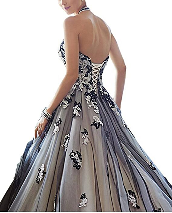 504becb341fb3 Kiss Rain Women's White and Black Tulle Prom Dresses Evening Party Corset  Gothic Wedding Gowns at Amazon Women's Clothing store: