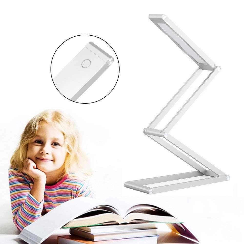 ONEVER wiederaufladbare dimmbare Lampe mit 2 Helligkeitsstufen Silber Farbe Portable Aluminiumlegierung Klapplampe f/ür das Lesen von Home Office LED Schreibtischlampe