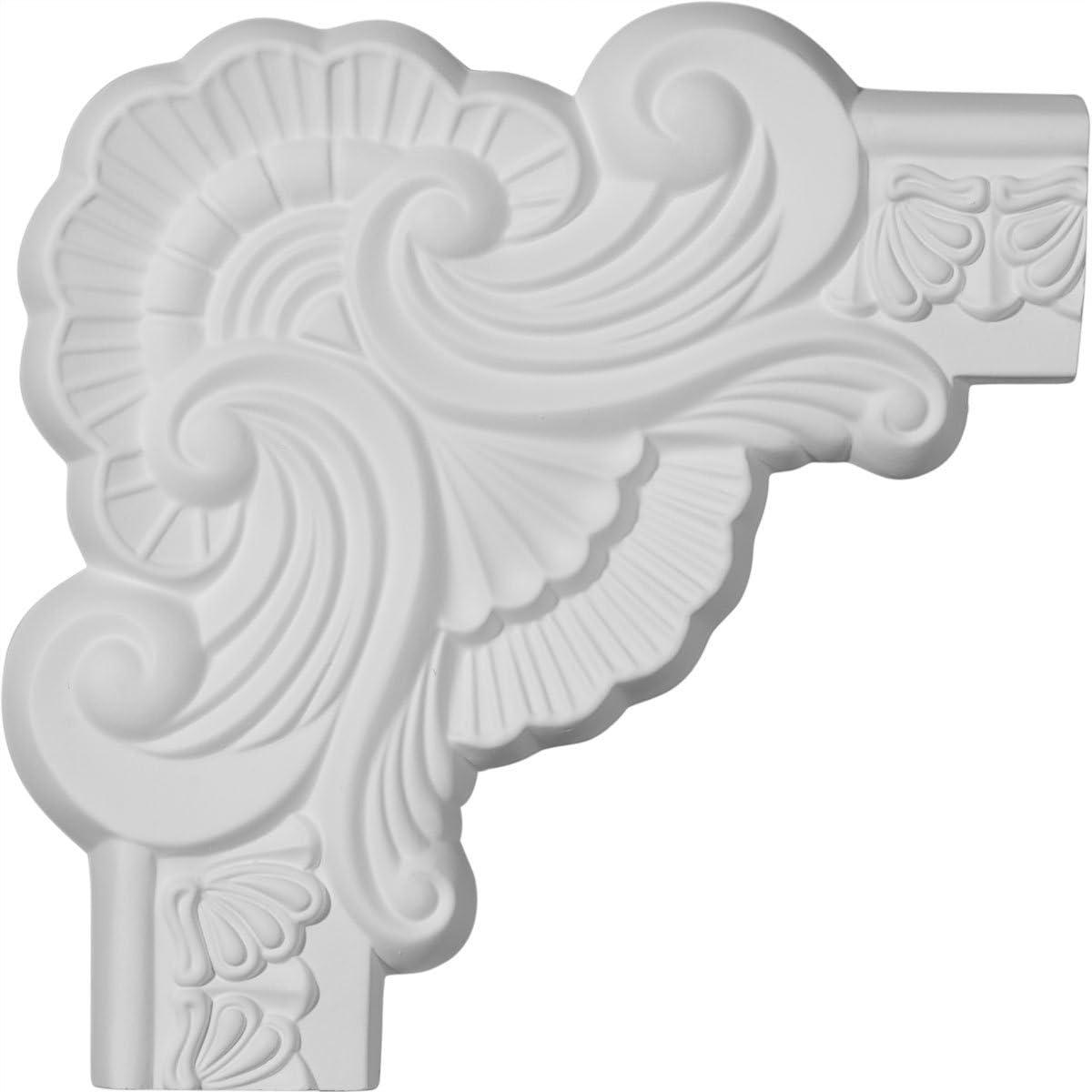 4-Pack 4 Piece Ekena Millwork Acanthus Leaf PML09X09AC-CASE-4 Panel Moulding Corner 9 3//8W x 9 3//8H Factory Primed