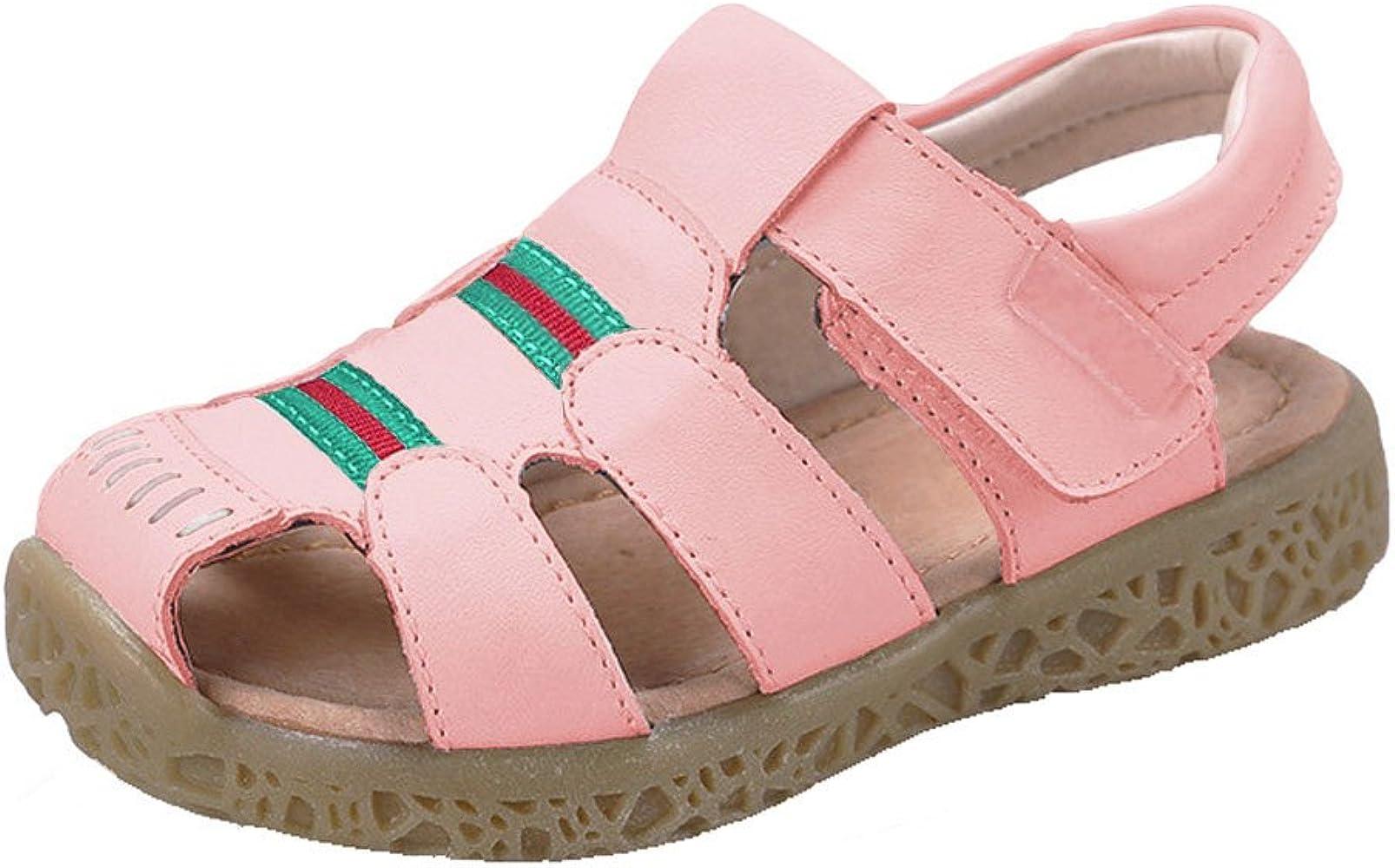 Toddler//Little Kid Durable Color : Blue+Beige , Size : 6.5 UK Non-Slip Boys Shoes Double Adjustable Strap Closed-Toe Sandals
