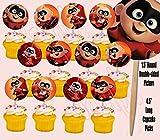 Baby Jack Jack from The Incredibles Cupcake Picks Cake Toppers -12 pcs Disney Movie, Elastigirl, Violet, Dash Jack-Jack