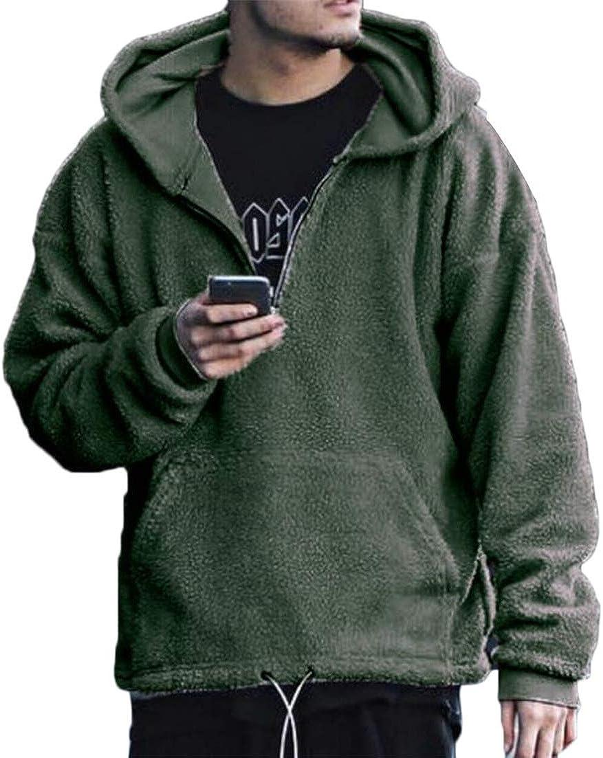 Hajotrawa Men Sherpa Solid Color Tops Fleece Hooded Long Sleeve Sweatshirts