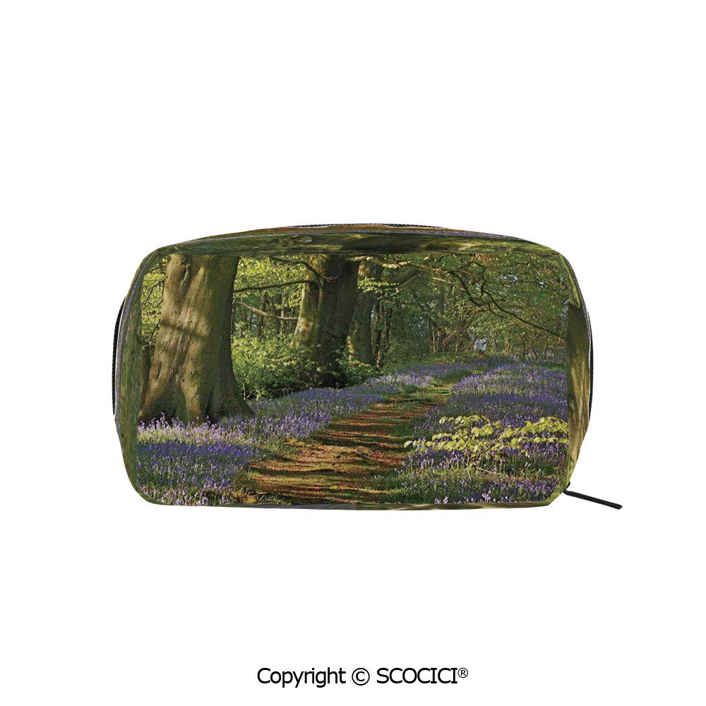 Rectangle Portable makeup organizer Cosmetic Bags A Carpet of Bluebells Spreads through the Woodland in Staffordshire England Printed Storage Bags for Women Girls