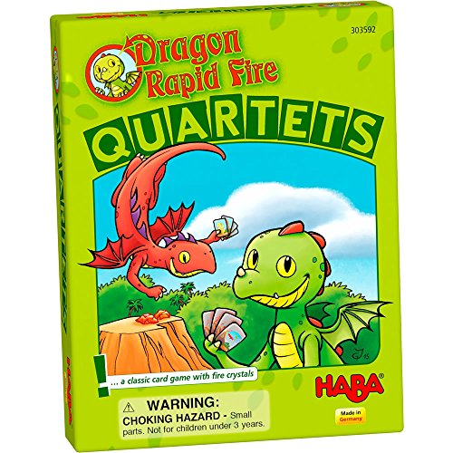HABA Dragon Rapid Fire Quartets - A Classic Card Game with Fire Crystals for Ages 4+ (Made in (Rock Quartet Gem)