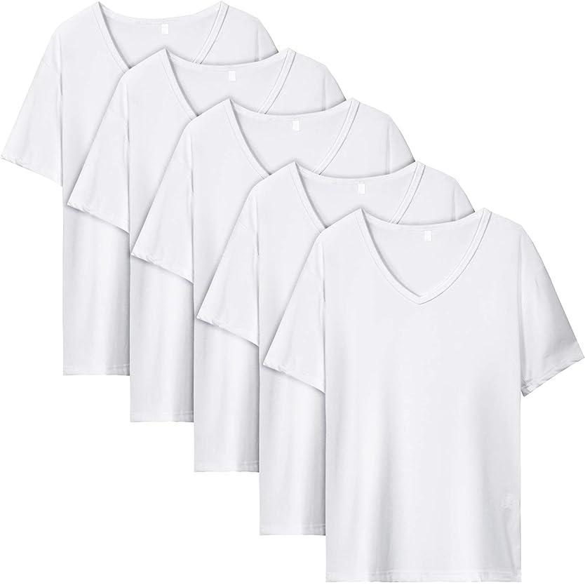 陰謀スーツ最終RanSy スウェット Vネック 半袖 Tシャツ メンズ 麻 無地 ストリート系 カジュアル 夏服 シャツ