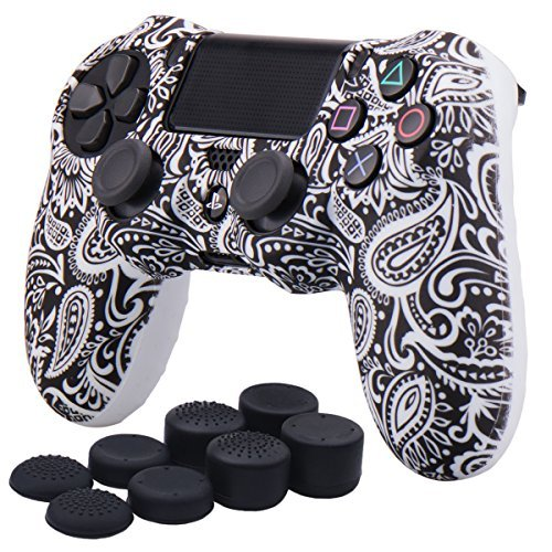 YoRHa Water Transfer Printing Flowers Silicone Cover Skin Case for Sony PS4/slim/Pro controller x 1(white) With Pro thumb grips x 8