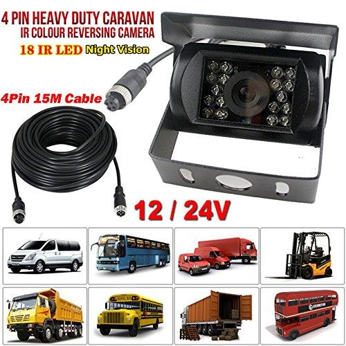 12 V-24 V 4pin Bus camion rimorchio Heavy Duty 18 LED IR per visione notturna impermeabile retromarcia backup telecamera posteriore con 15 m cavo 4pin xinyida