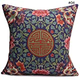 HandyCase Vintage Retro Chinoiserie Embroider Flower Washable Cotton Linen Pillow Case Home Decorative 18Inches 18Inches-Style 4
