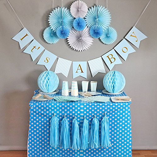 Baby Shower Decorations for Boy kit, It's A Boy Banner Pre-Strung, Blue and Gold Foil,Boy Baby Shower Set,Tissue Paper, Fans, Honeycomb Paper Balls, Tassels, Hanging, Party Supplies,]()