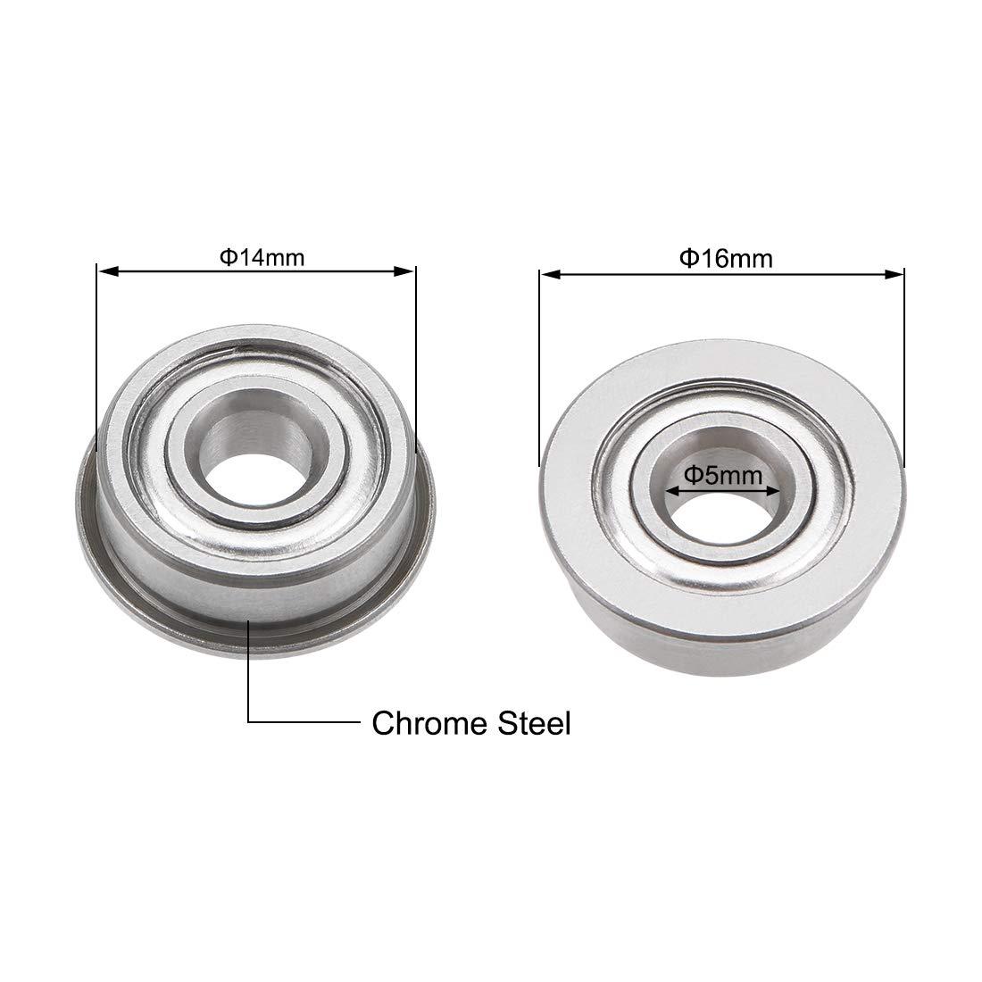 Chrome Steel Bearings 10pcs GCr15 uxcell F605ZZ Flange Ball Bearing 5x14x5mm Double Metal Shielded