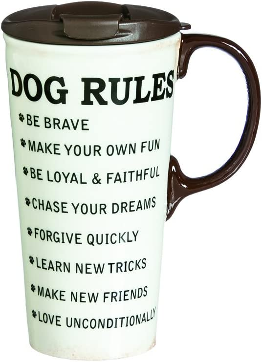 Dog Rules Ceramic Travel Cup - 5 x 7 x 4 Inches