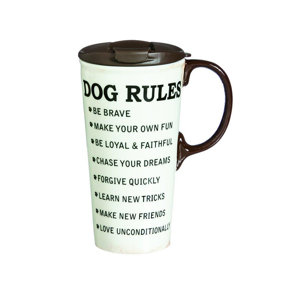 Cypress Home Dog Rules Ceramic Travel Coffee Mug 17 ounces by Cypress