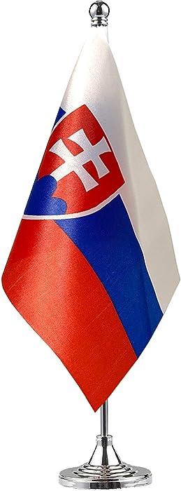 GentleGirl.USA Slovakia Table Flags,Stick Small Mini Slovak Flag Office Desk Flag on Stand with Stand Base, International Festival Decoration,Slovak Theme Party Decoration,Home Desk Decoration