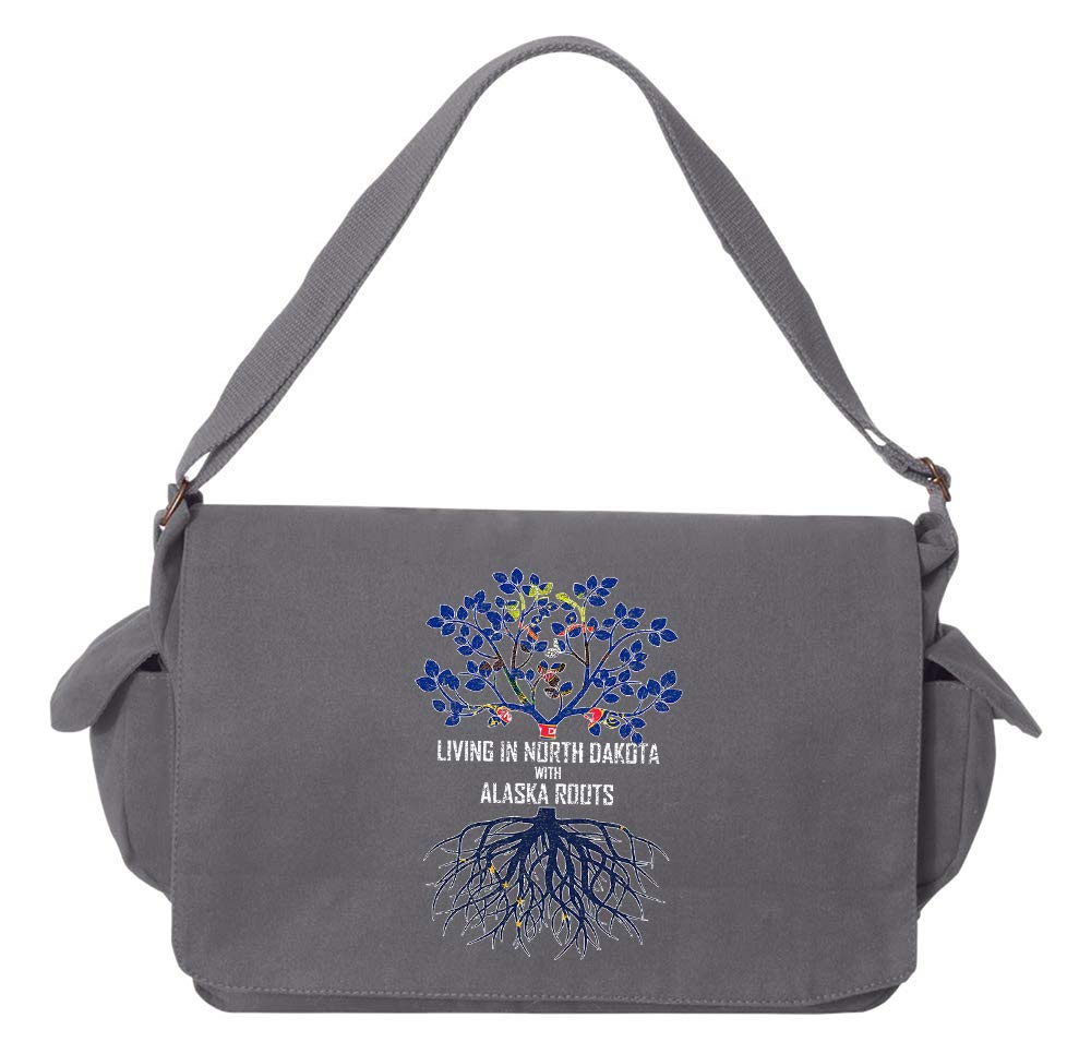 Tenacitee Living In North Dakota with Alaska Roots Grey Brushed Canvas Messenger Bag