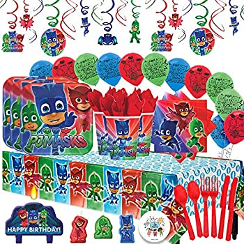 Another Dream PJ Masks MEGA Deluxe Birthday Party Pack for 16 with Plates, Napkins, Cups, Cutlery, Tablecover, Candles, Hanging Swirl Decorations, ...