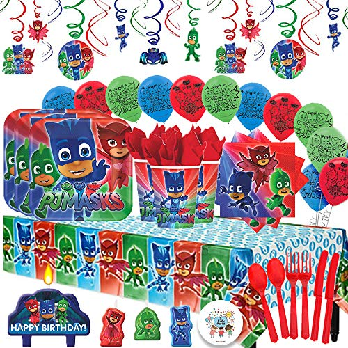 Another Dream PJ Masks MEGA Deluxe Birthday Party Pack for 16 with Plates, Napkins, Cups, Cutlery, Tablecover, Candles, Hanging Swirl Decorations, and Balloons! by Another Dream