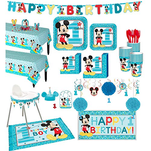 Mickey Mouse 1st Birthday Bib (Party City 1st Birthday Mickey Mouse Deluxe Party Kit for 32 Guests, Includes High Chair Decorating Supplies and)