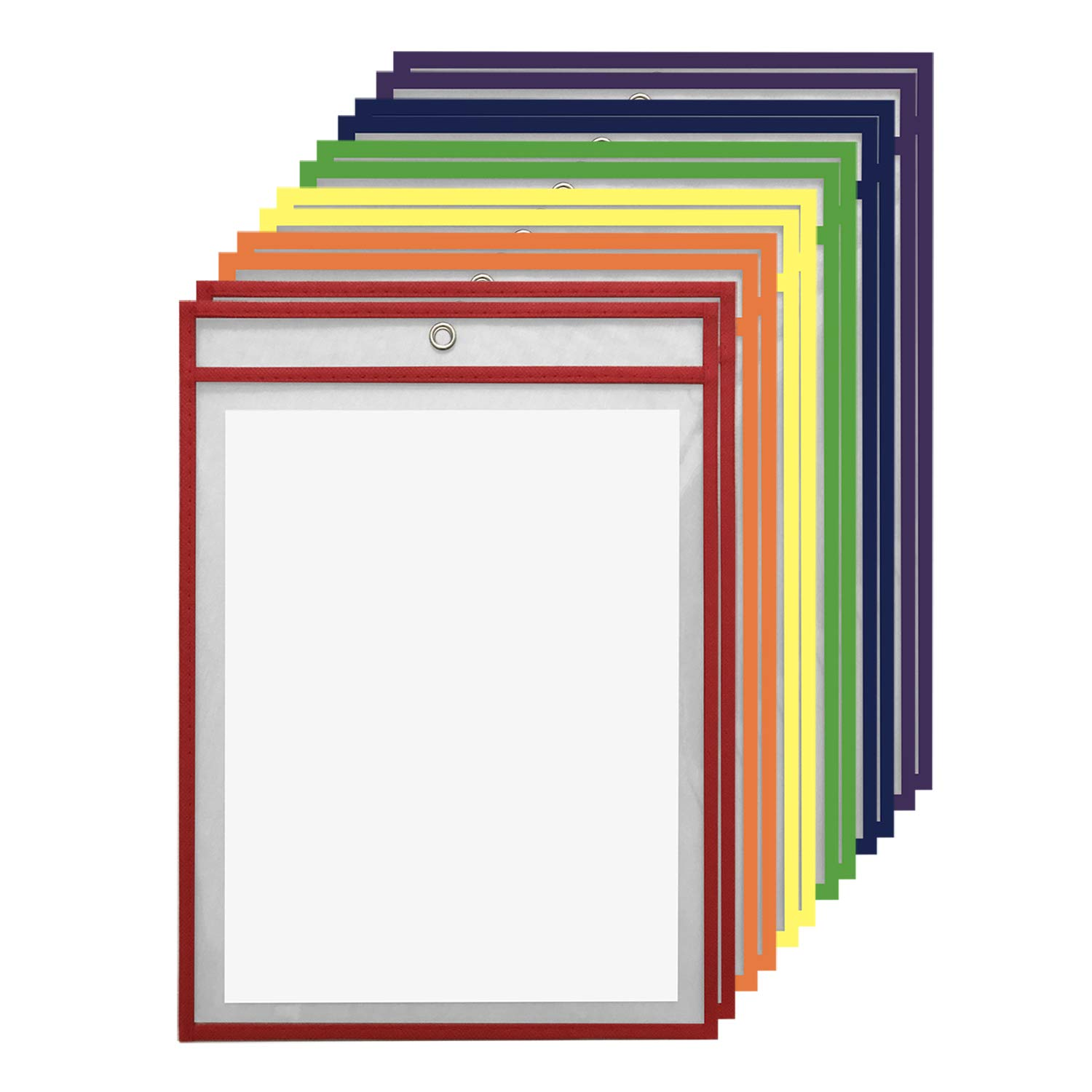 """12 Pack Dry Erase Pockets – Assorted Colors – by Essex Wares – for Teacher Lessons in a Classroom or for Use at Your Home or Office – Fits Standard 8.5"""" X 11"""" Paper"""