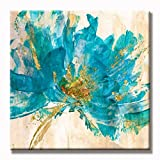 UAC WALL ARTS 100% Hand-painted Blue Tea Flower Canvas Art on Vintage Background Rustic Home Decoration 32x32 Inch