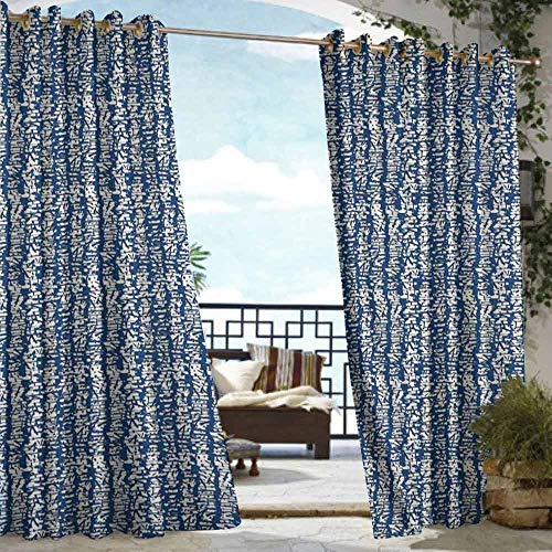 DILITECK Window Blind Tie Dye Japanese Folk Design Abstract Watercolor Artwork with Stained Messy Look Insulated with Grommet Curtains for Bedroom W84 xL96 Navy Blue and Cream