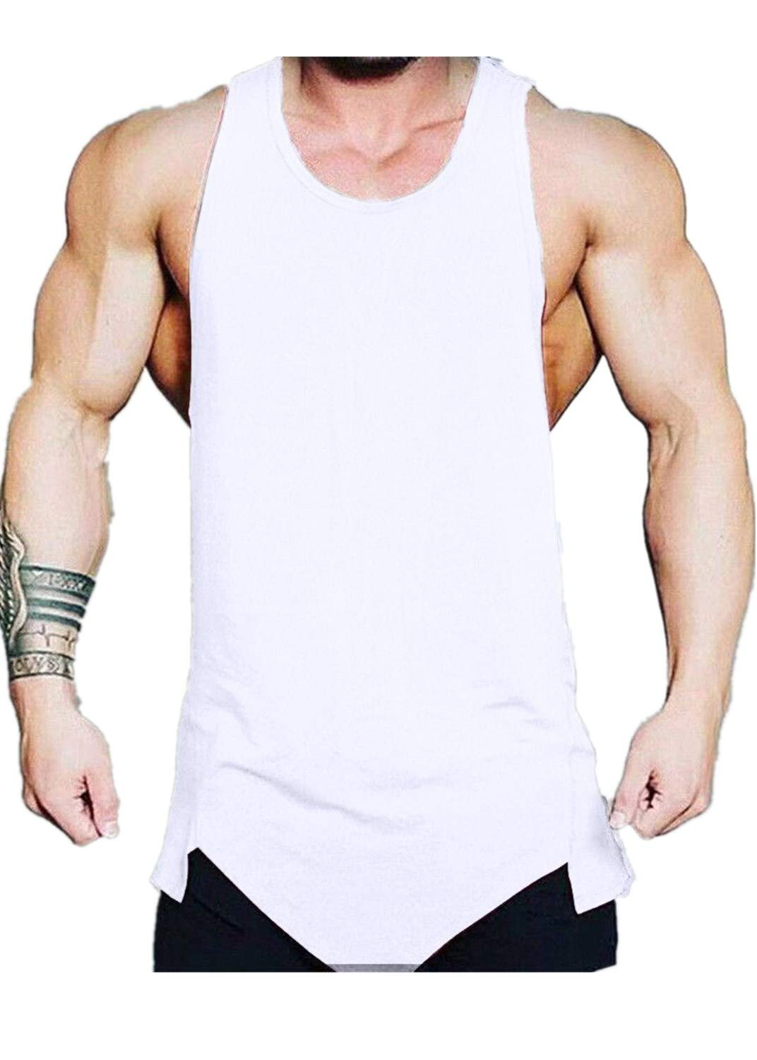 Men Vest Shirts Irregularity Casual Sport Pure Color Tanks Tops Sleeveless Tee Blouse (L, White)