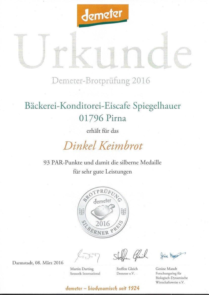 Demeter Dinkelkeimbrot Frisches Weizenfreies Hefefreies Bckerbrot