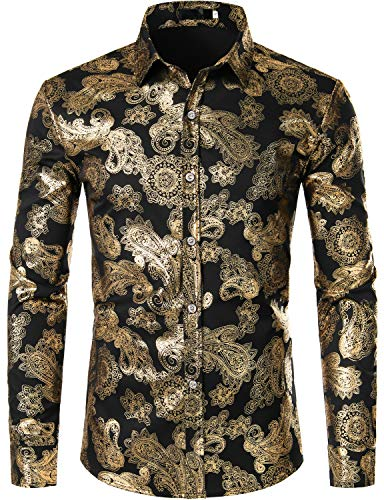 ZEROYAA Mens Hipster Paisley Shirt Luxury Design Slim Fit Long Sleeve Button Down Shirts Party Costume ZZCL40 Black XX-Large