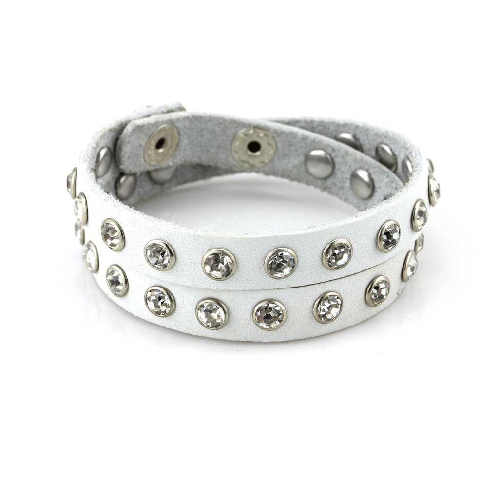 Balla Studded Double Wrap Cuff Bracelet Adjustable White Leather with Rhinestones for Women & Girls