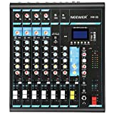 Neewer Stereo Mixer 8 Channel Compact DSP Effects Mini Mixing Console with USB 3 Band LED Level Indicator for Computer Microphone, and other Musical Instruments (NW-08)