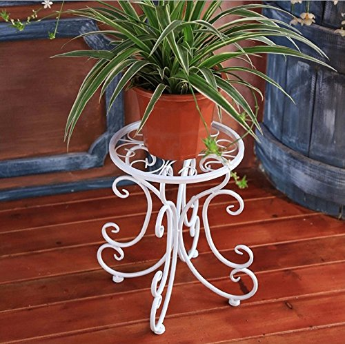 (Obaile Metal Flower Pot Rack 13 Inch Vintage Plant Display Stand Holder in Balcony Garden White)