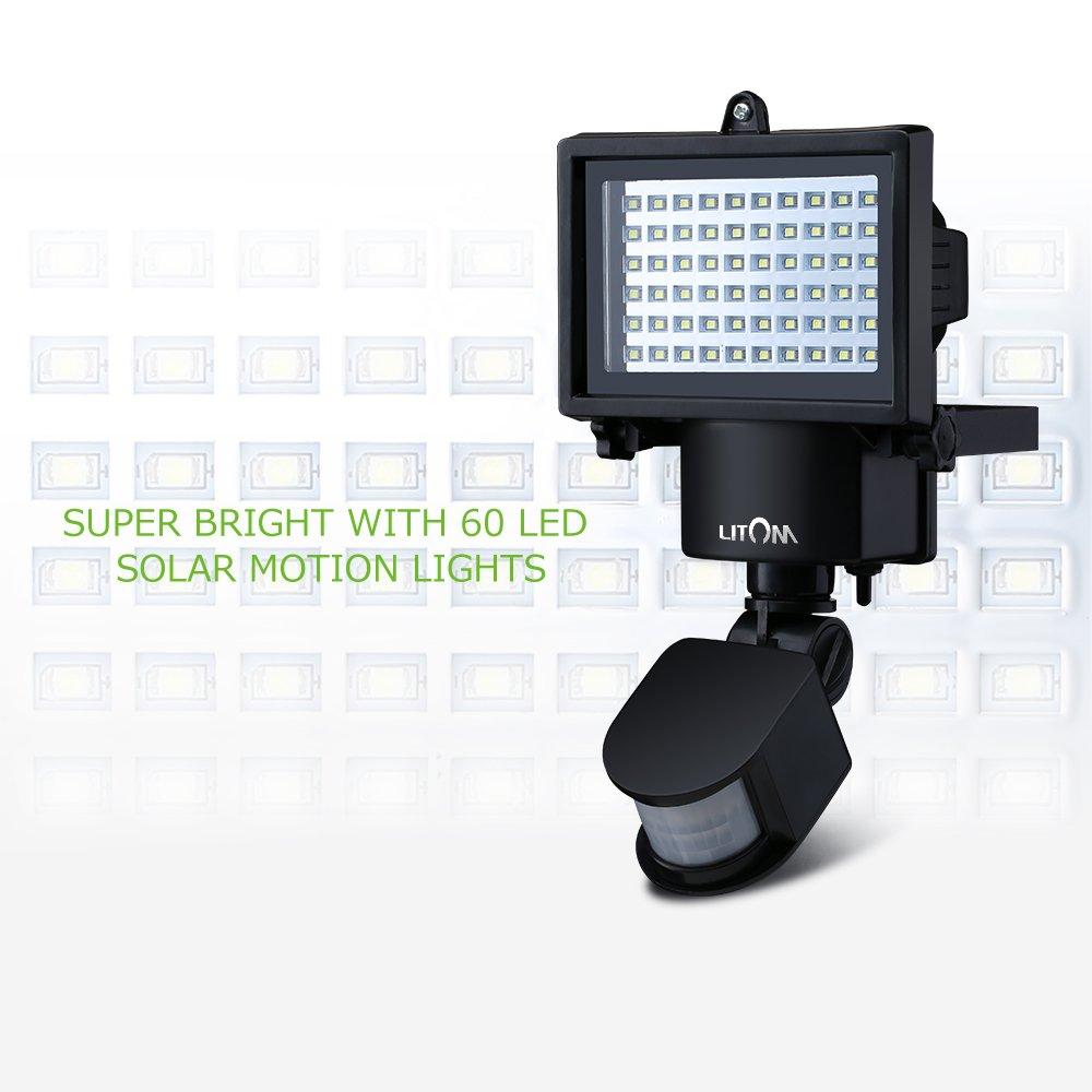 Litom Lamparas Solares 60 LEDs con Sensor Movimiento Luces solares Impermeable para la Seguridad del Jardin,Patio,Pared,Garage y otras Areas Exterior: ...