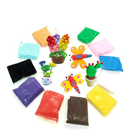 Amazon Com 12 Colors Air Dry Clay Modeling Magic Diy Colorful Super