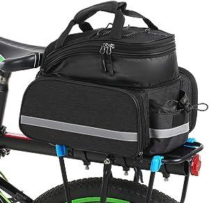 Lixada Bike Rear Bag Bicycle Pannier Bag Saddle Bag 25L Bicycle Rear Seat Bag Bike Carrier Trunk Bag Expandable Waterproof MTB Bike Rack Bag with Rain Cover