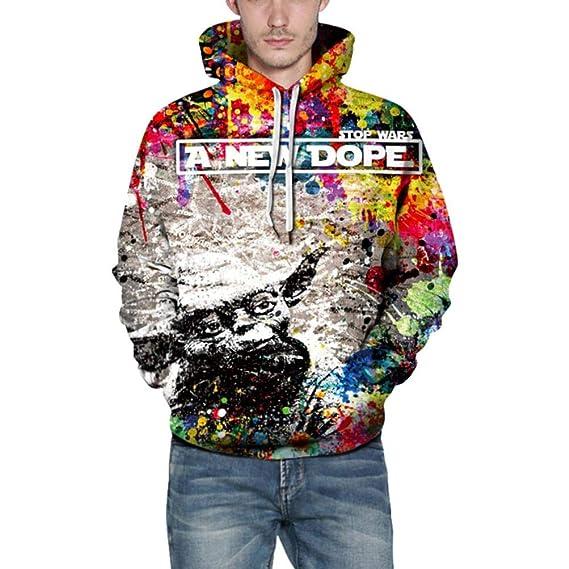 Longra Herren 3D Druck Hoodie Kapuzenpullover Langarm Sweatshirt  Kapuzenjacke mit Taschen Herren Pullover Oversize Hoodie  Weihnachtenpullover Herrenjacke ... e5e9e2e17f