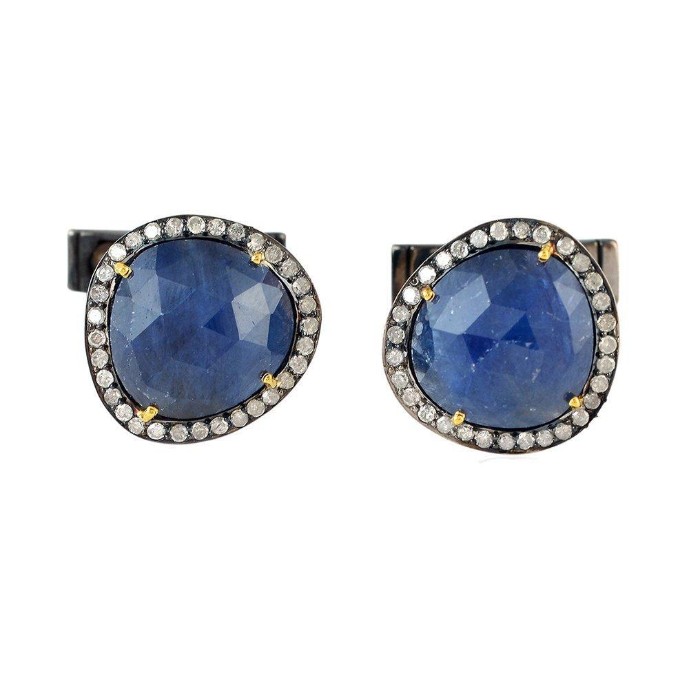 13.91ct Sapphire Diamond 14 kt Gold Cufflinks 925 Sterling Silver Men's Jewelry