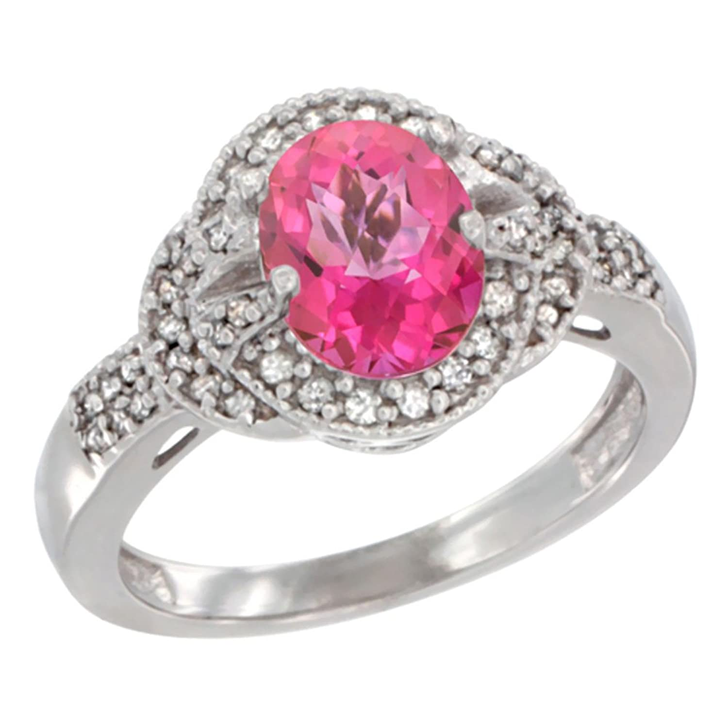 Amazon.com: 10K White Gold Natural Pink Sapphire Ring Oval 8x6 mm ...