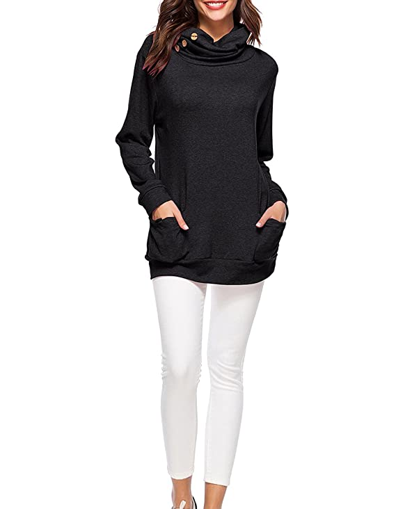 0944fab72a7 Defal Womens Long Sleeve Button Cowl Neck Tunic Top Casual Slim Sweatshirt  with Pockets for Leggings at Amazon Women's Clothing store: