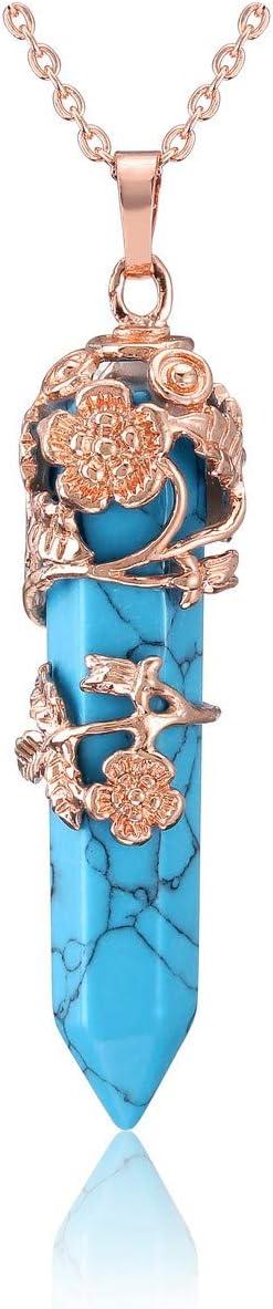 JOVIVI Rose Gold Plated Flower Wrapped Synthetic Turquoise Healing Crystal Necklace Hexagonal Prism Pointed Quartz Yoga Energy Chakra Gemstone Pendant Pendulum Reiki Jewelry